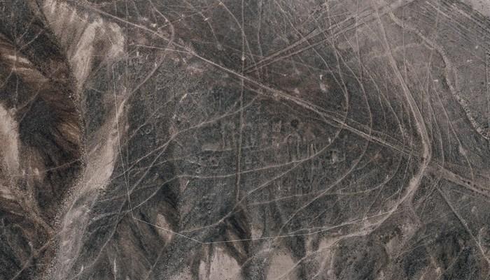 Ряд линий Наска, проходящих через фигуры Пальпы, обнаруженные в ходе недавнего исследования
